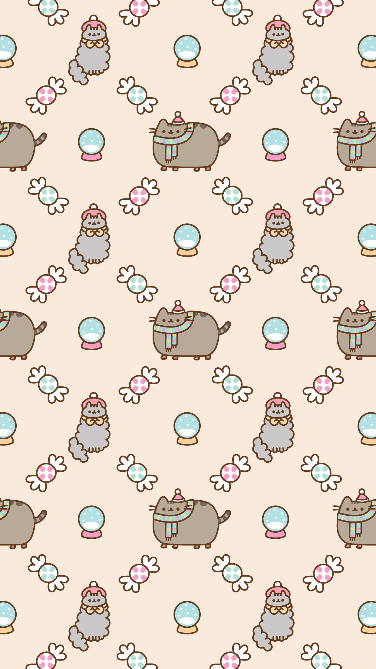 Free Christmas Pusheen Android and iPhone® Wallpapers - #ClairesBlog