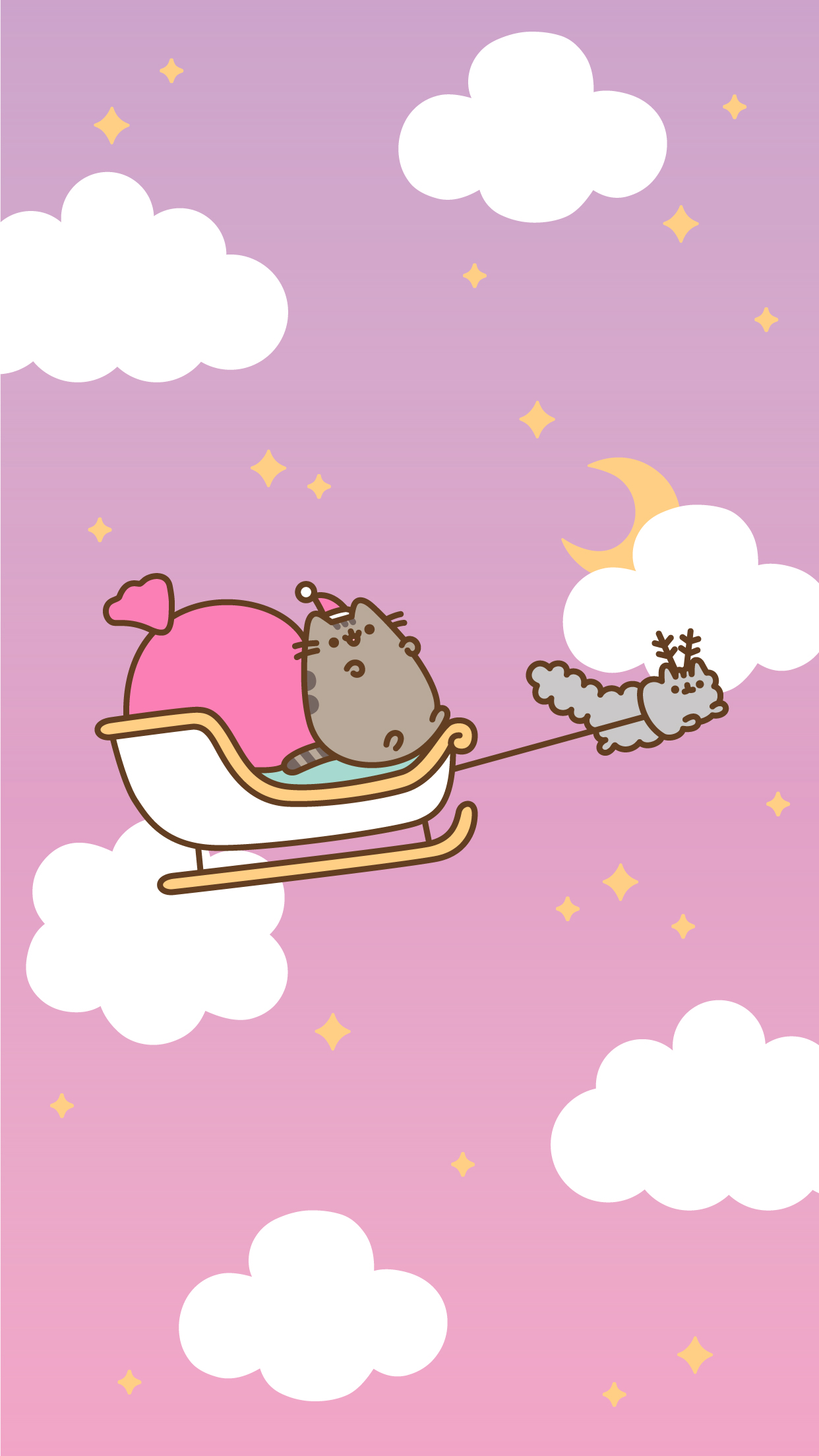iPhone Pusheen Free Christmas Wallpaper