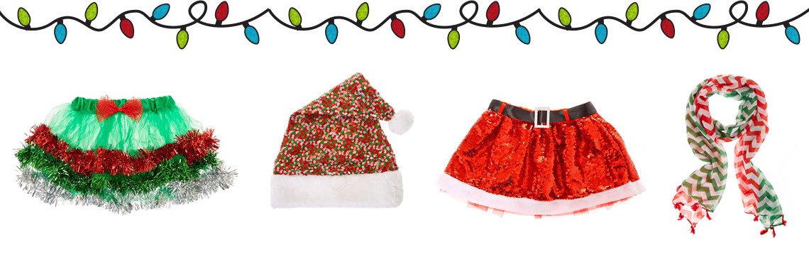 from tutus to christmas hats and scarves we have all the shimmery apparel you will need to create a super christmassy look